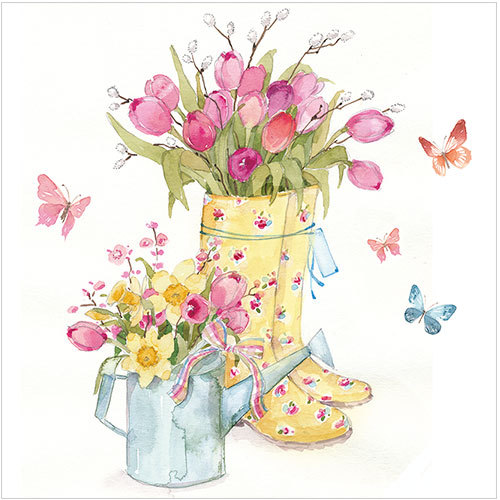 Flowers and Yellow Wellies