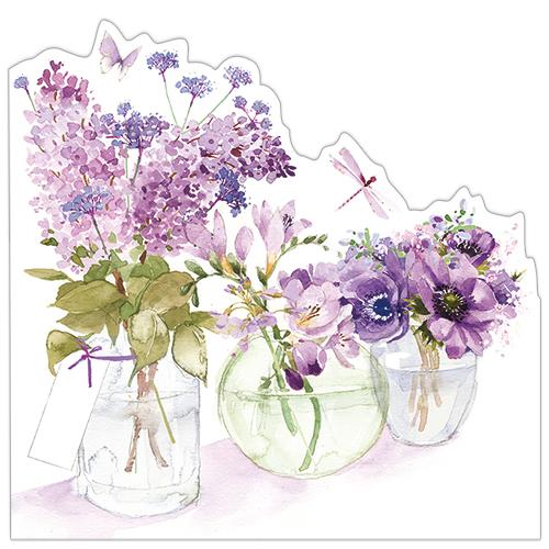 Three Flower Jars (Purple)