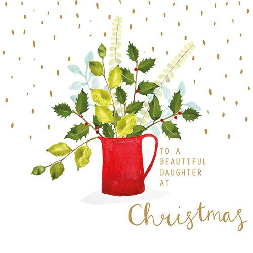 Red Christmas Jug (Daughter) Single Card