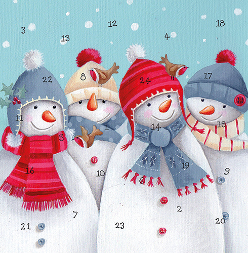 Four Snowmen Advent Calendar Card