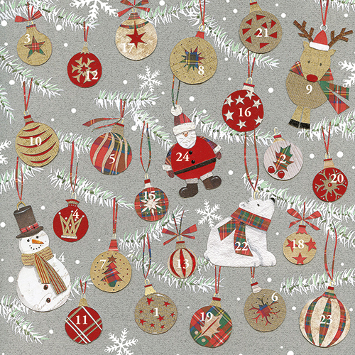 Christmas Baubles Advent Calendar Card