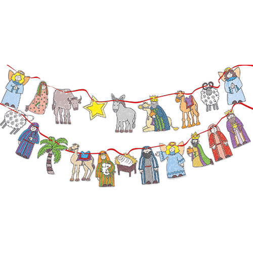Nativity Characters Colour-in Bunting