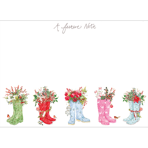 Festive Wellies Note Cards
