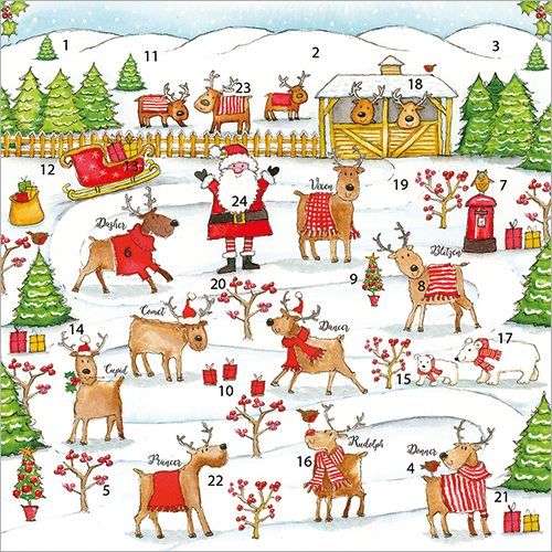 Rudolph & Friends Adv Calendar Card
