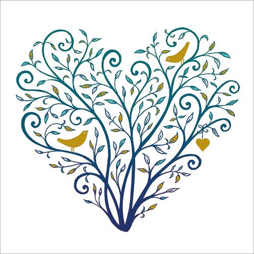 Love Hearts With Golden Birds